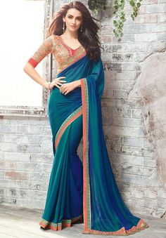 Teal Blue and Indigo Blue Party Wear Saree