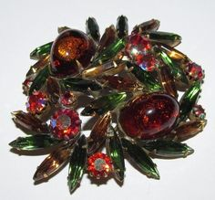 Stunning JULIANA D Gold Infused CAB Green,Citrine & Pink Rhinestone Brooch Pin