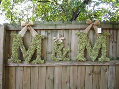 Set of two 24 inch moss covered wedding monogram letters and 12 inch ampersand. $165.00, via Etsy.