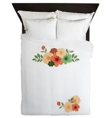 Simple Modern Floral White Invitation Queen Duvet