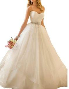Women's Elegant Sweetheart Waist Beaded Ball Gown Wedding Dresses For Bride