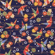 http://www.kawaiifabric.com/en/p8911-dark-blue-colorful-origami-crane-bird-gold-metallic-fabric.html