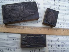 Antique/Vintage  Printing Blocks  Group of 3 by ShaneLilyRain