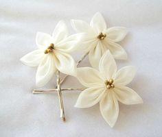 Kanzashi Hair Flowers Ivory Bobby Pins by ScarlettandMaria on Etsy, $22.00