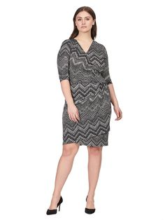 e2c5ed6add36 Ciara Cince Dress In Static Shift Print by Kiyonna Hourglass Fashion