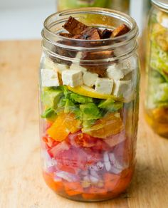 Vegan Cobb In-a-Jar by kblog.lunchboxbunch  #Salad #Jar #Picnic
