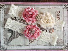 Wedding Garter Set Bridal Garter Set Ivory by TheRaggedDiamond