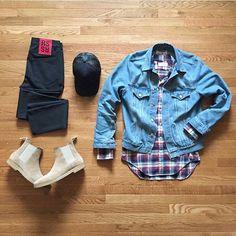 Outfit grid - Denim & Chelsea boots