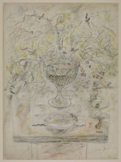 'Chalice with Flowers and Pepperpot', c.1954–5 by David Jones (British 1895–1974) © The estate of David Jones