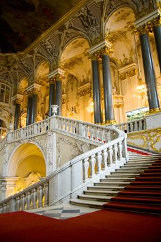 Welcome to the Hermitage - The Main Staircase of the Winter Palace (The Hermitage, Saint Petersburg, Russia).