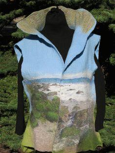 Tofino beach, nuno felted vest. One of my own favourites. Viva Felt