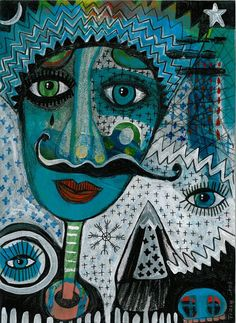prayer for a one-wheeled gypsy king - original painting - contemporary - folk -expressionist - mixed media - outsider art