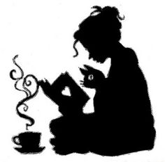 Girl Reading a book with cat and tea | Silhouette