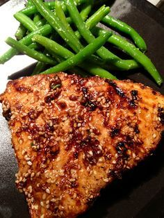 : Asian Sesame Grilled Tuna Steak :  soy sauce, sesame oil, sesame seeds, garlic, lemon juice, salt & pepper : marinate for 1/2 hour and  grill a few minutes each side