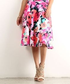 Water Color Floral A-Line Skirt