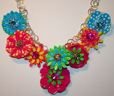 Faux Enamel Flowers created with Mod Podge and dimensional magic. #crafts #mod podge