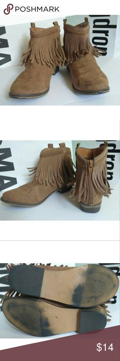 Suede moccasin booties LIKE NEW Suede booties in like new condition with moccasin-like fringe detail and zipback closure. Mossimo Supply Co. Shoes Ankle Boots & Booties