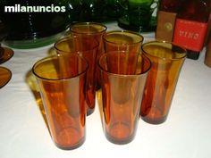Duralex. 6 vasos largos color ambar. como nuevos. Años 60.