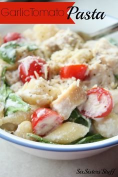 A quick and easy pasta that can be a main dish with the chicken added in.