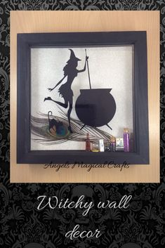 Witch home wall decoration, shadow box frame, Wiccan cauldron Halloween Frames, Halloween Gifts, Halloween Decorations, Wooden Hand, Handmade Wooden, Angel Crafts, Shadow Box Frames, Witch House, Etsy Crafts