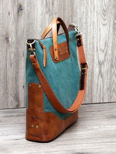 / elena grishina handbag  / turquoise fabric with brown leather trim /