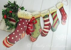 "Shabby Art Boutique: 6"" personalised stockings - free postage - http://www.woodberrydesigns.com.au/handmade.htm"