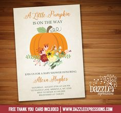 Printable Floral Pumpkin Baby Shower Invitation | Fall Shower | October or November Baby Shower | Baby Girl or Boy  | Digital File  | FREE thank you card | Party Package Available | Banner | Cupcake Toppers | Favor Tag | Food and Drink Labels | Signs | Candy Bar Wrapper | www.dazzleexpressions.com