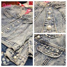 Embellished Jean Jackets | elle girl embellished denim long sleeve jacket take the cue