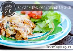 Chicken & Black Bean Enchilada Casserole - made this with leftover Mexican slow cooker black bean and chicken - super easy to throw together and quite tasty Mexican Food Recipes, Dinner Recipes, Healthy Recipes, Yummy Recipes, Easy Weeknight Meals, Fast Meals, Frugal Meals, Easy Dinners, Vegetarian Quinoa Chili