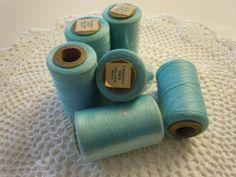 Vintage Spools of Thread  Aqua  6000 Yards by stylishjunque