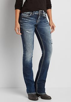 fa6b31b65df Silver Jeans Co.® Suki slim boot jeans with paint splatter
