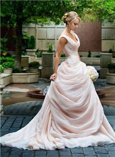 227.59 dressce.com SUPPLIES Fashion A-Line/Princess off-the-shoulder Chapel Train Wedding Dress