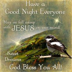 Have a Good Night Everyone. God Bless You All!