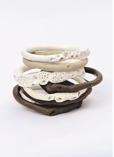 rOck cOral bangle stack