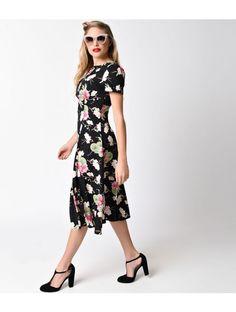 Hell Bunny Black & Floral Freya Swing Dress