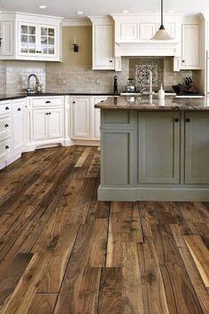 White Rustic Kitchen Design Dark Barnwood Floor and Large Center Island