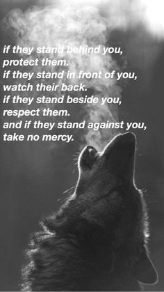 if they stand behind you, protect them. if they stand in front of you, watch their back. if they stand beside you, respect them. and if they stand against you, show them no mercy. Lone Wolf Quotes, Lion Quotes, Writing Quotes, Poetry Quotes, Writing Prompts, Gangster Quotes, Badass Quotes, I Respect You, No Respect Quotes