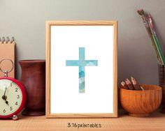 Cross Blue 8x10 Bible Art Scripture Prints Bible by 316printables
