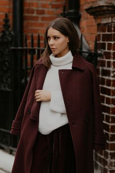 Wearing all Jigsaw, Louise Thompson wears our Wool Melange Fixed Lapel Coat over our Ribbed Cashmere Jumper and Velvet Trousers. Louise Thompson, Cashmere Jumper, Brown Blonde Hair, Coats For Women, Glamour, Style Inspiration, Wool, My Style, Casual