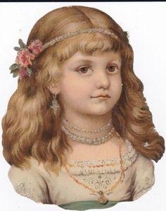 Victorian-era-Die-Cut-Scrap-Blonde-Lovely-Little-Girl-w-jewelry-Flowers-1800s