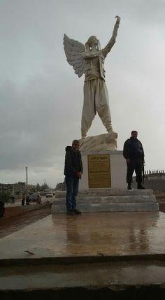"Free Kurdish women statue in Kobane city. Constracted by "" Zîrek "" artist."