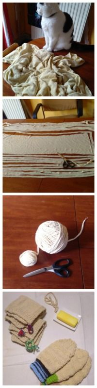 How to make knitting yarn with a jersey bedsheet. #reuse #recycle Link leads to my site in Dutch