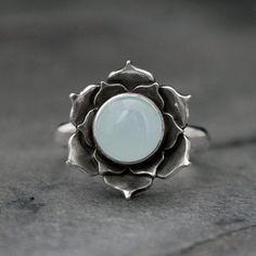awesome cool Aquamarine Lotus Ring, Sterling Silver Statement Ring, Luminous Lotus Flowe... #SterlingSilverRings