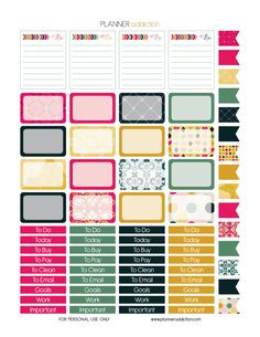 Free Printable Planner Stickers - Glam It