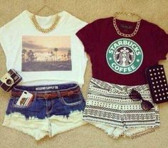 shorts and T-shirts... the good old days of summer :/ :) <3