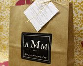 12 Bag Set Wedding Welcome Bags Anthropology Woodland Classic Style Guest Bag Black and White