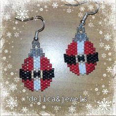 Christmas Bead Earrings by Delicandjewels on Etsy
