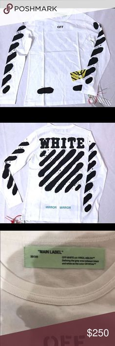 Off White Diagonal Spray Paint Long Sleeve T Shirt Size Small Off-White Shirts Tees - Long Sleeve