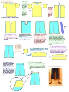 pants tutorial - Clever Shirts - Ideas of Clever Shirts - pants tutorial-Tshirt surgery. This is another great way to recon a tshirt for another use or get those HUGE tshirts on clearance for a dollar or so and make them into these yoga style pants. Sewing Hacks, Sewing Tutorials, Sewing Crafts, Sewing Projects, Sewing Patterns, Diy Clothing, Sewing Clothes, T-shirt Rock, Pants Tutorial