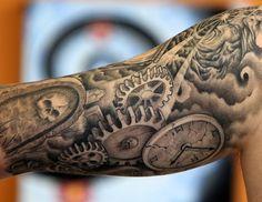 black and gray half sleeve -by Shaun Carroll of Hot Rod Tattoo in Blacksburg, VA